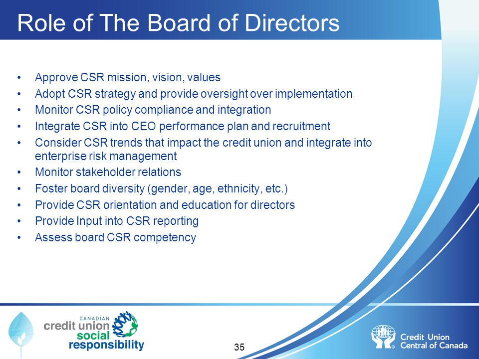 Role of The Board of Directors Approve CSR mission, vision, values Adopt CSR strategy and provide oversight over implementation Monitor CSR policy com