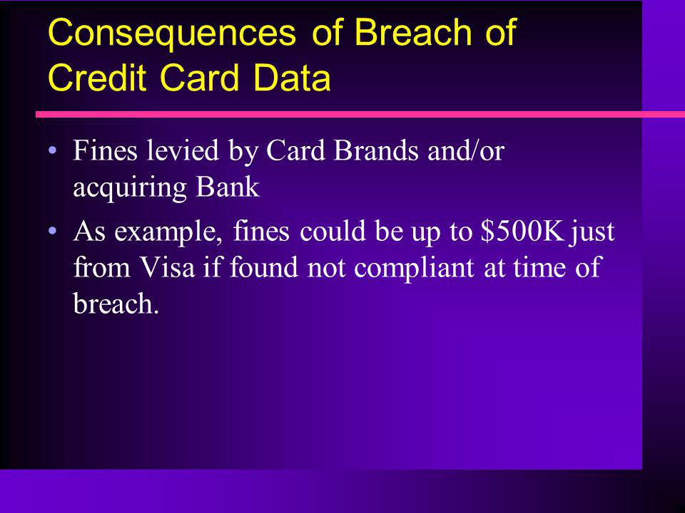 Consequences of Breach of Credit Card Data Fines levied by Card Brands and/or acquiring Bank As example, fines could be up to $500K just from Visa if