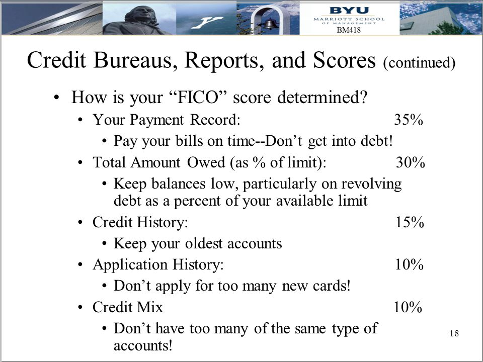 18 Credit Bureaus, Reports, and Scores (continued) How is your FICO score determined.