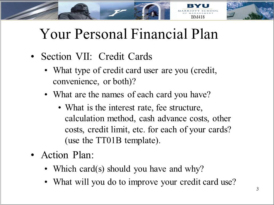 3 Your Personal Financial Plan Section VII: Credit Cards What type of credit card user are you (credit, convenience, or both).