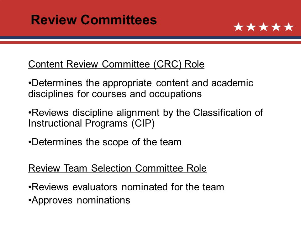 Review Committees Content Review Committee (CRC) Role Determines the appropriate content and academic disciplines for courses and occupations Reviews discipline alignment by the Classification of Instructional Programs (CIP) Determines the scope of the team Review Team Selection Committee Role Reviews evaluators nominated for the team Approves nominations