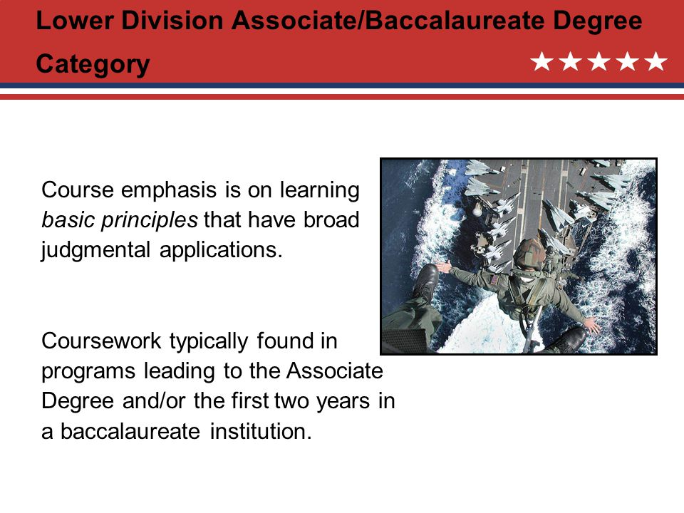 Lower Division Associate/Baccalaureate Degree Category Course emphasis is on learning basic principles that have broad judgmental applications.
