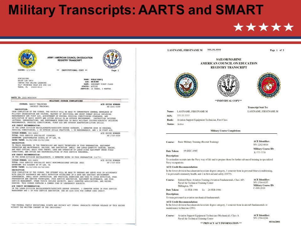Military Transcripts: AARTS and SMART