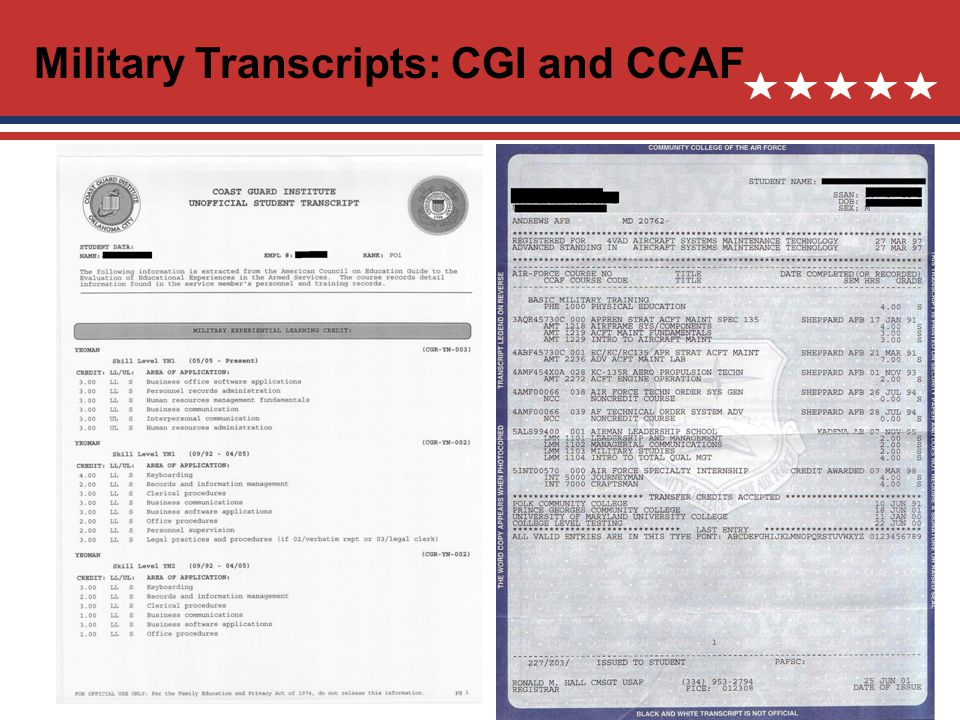 Military Transcripts: CGI and CCAF