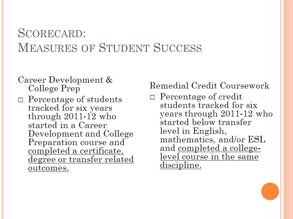 S CORECARD : M EASURES OF S TUDENT S UCCESS Career Development & College Prep Percentage of students tracked for six years through 2011-12 who started in a Career Development and College Preparation course and completed a certificate, degree or transfer related outcomes.