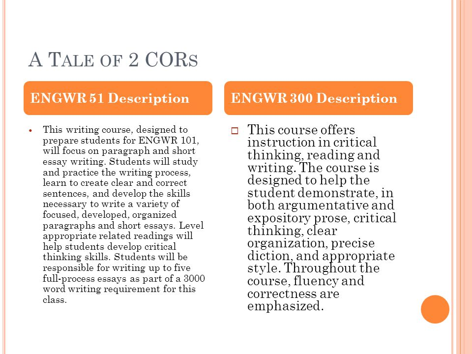 A T ALE OF 2 COR S This writing course, designed to prepare students for ENGWR 101, will focus on paragraph and short essay writing.