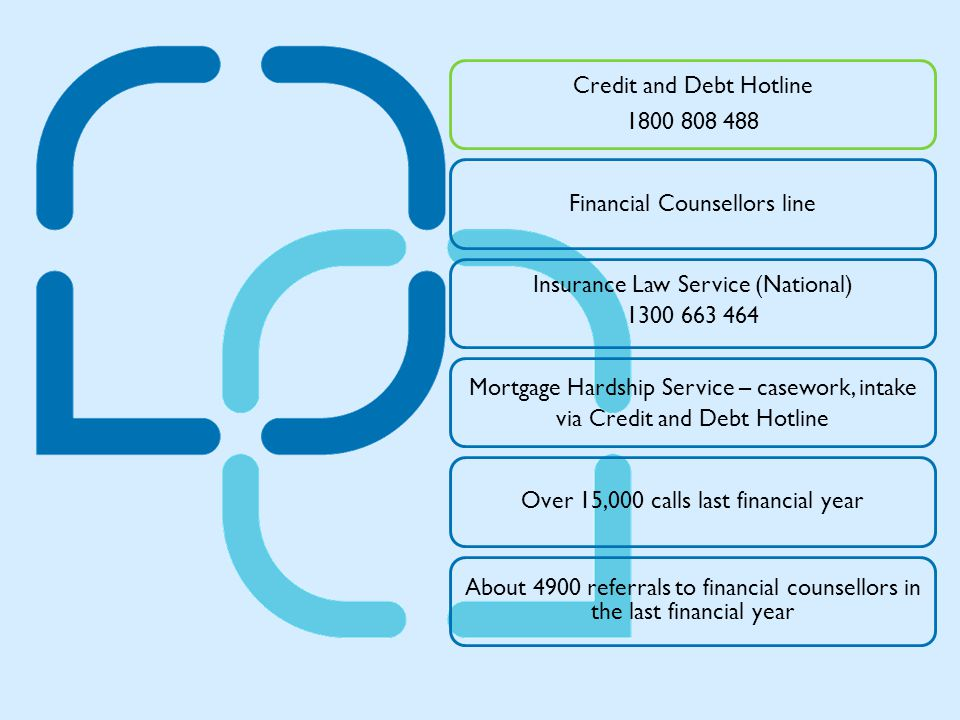 Credit and Debt Hotline 1800 808 488 Financial Counsellors line Insurance Law Service (National) 1300 663 464 Mortgage Hardship Service – casework, intake via Credit and Debt Hotline Over 15,000 calls last financial year About 4900 referrals to financial counsellors in the last financial year