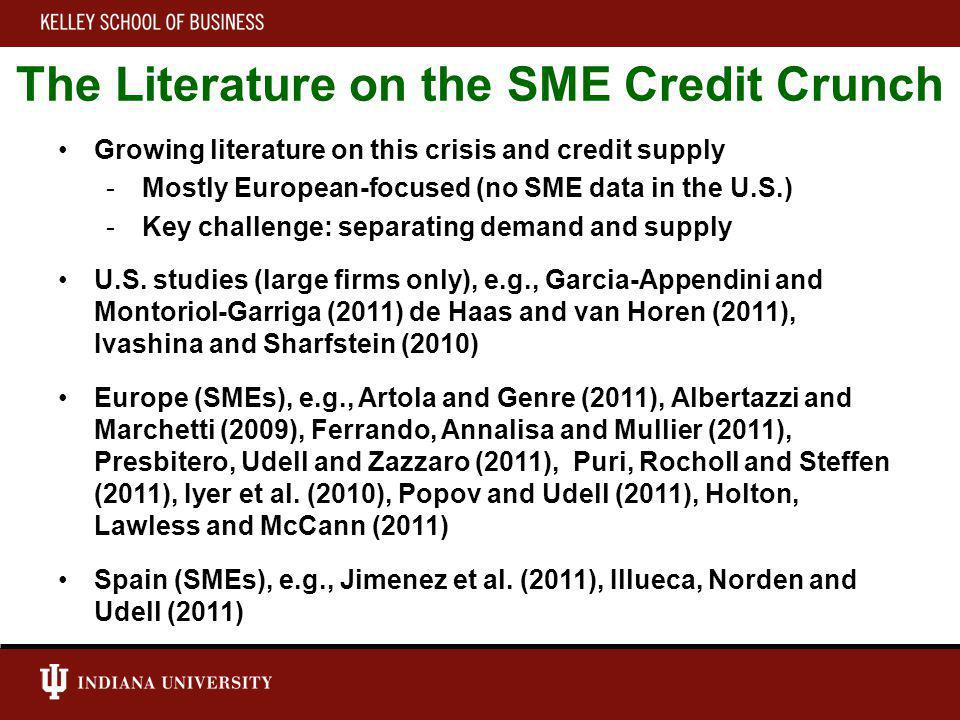 The Literature on the SME Credit Crunch Growing literature on this crisis and credit supply -Mostly European-focused (no SME data in the U.S.) -Key challenge: separating demand and supply U.S.