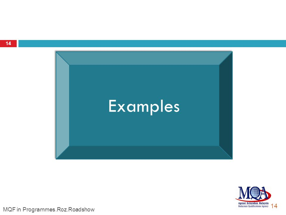 Roz. MQF Credit System: Practice, Guidelines and Procedure 14 Examples Examples 14 MQF in Programmes.Roz.Roadshow