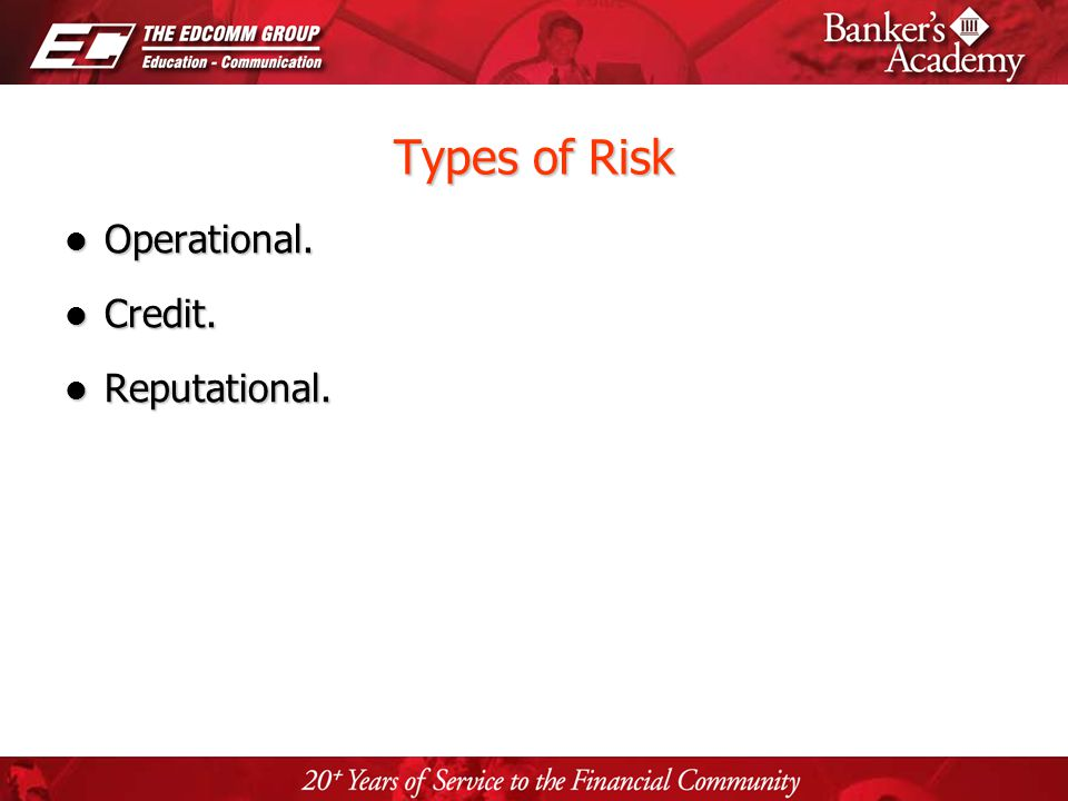 Page 4 Types of Risk Operational. Operational. Credit. Credit. Reputational. Reputational.