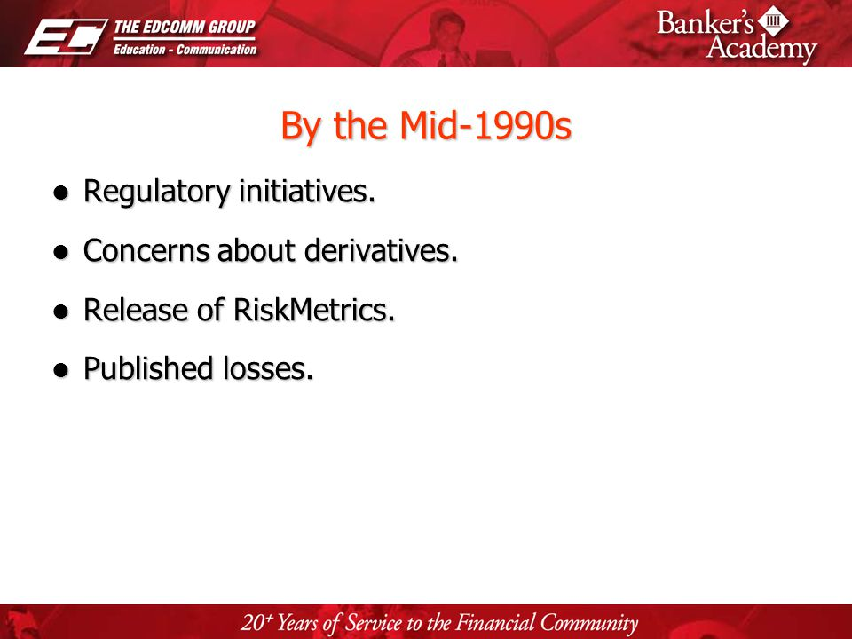 Page 40 By the Mid-1990s Regulatory initiatives. Regulatory initiatives. Concerns about derivatives. Concerns about derivatives. Release of RiskMetric