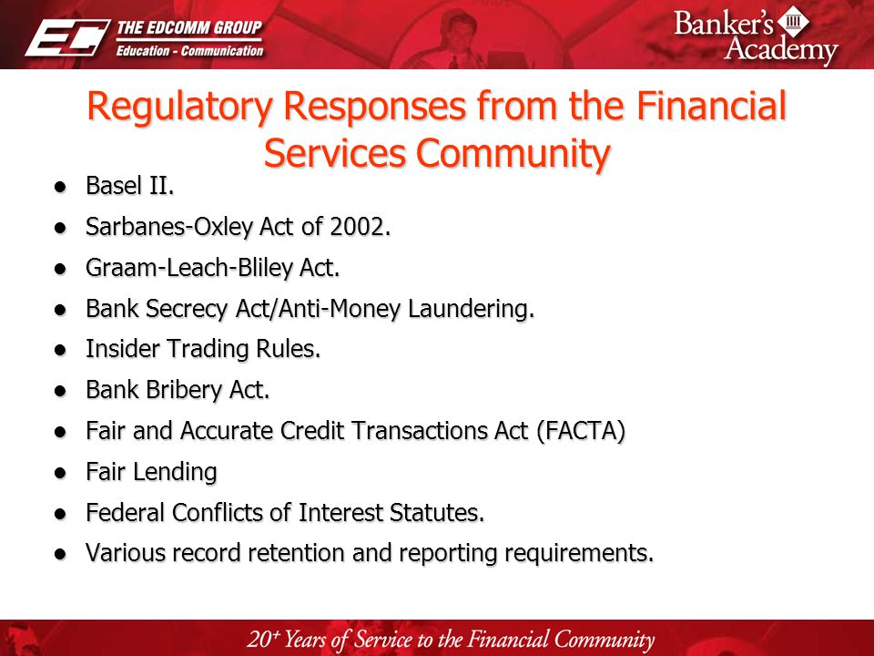 Page 42 Regulatory Responses from the Financial Services Community Basel II. Basel II. Sarbanes-Oxley Act of 2002. Sarbanes-Oxley Act of 2002. Graam-L