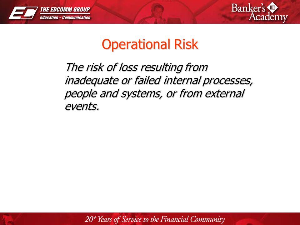 Page 5 Operational Risk The risk of loss resulting from inadequate or failed internal processes, people and systems, or from external events.