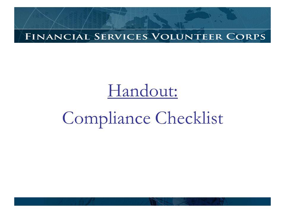 Handout: Compliance Checklist