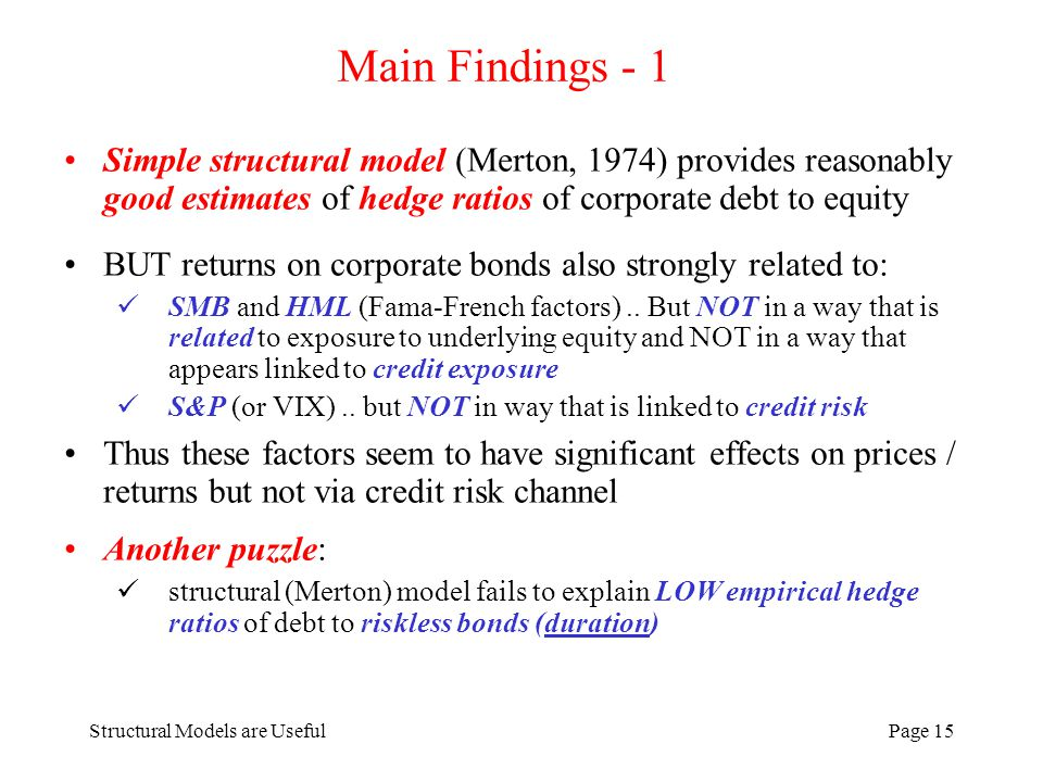 Structural Models are UsefulPage 15 Main Findings - 1 Simple structural model (Merton, 1974) provides reasonably good estimates of hedge ratios of cor