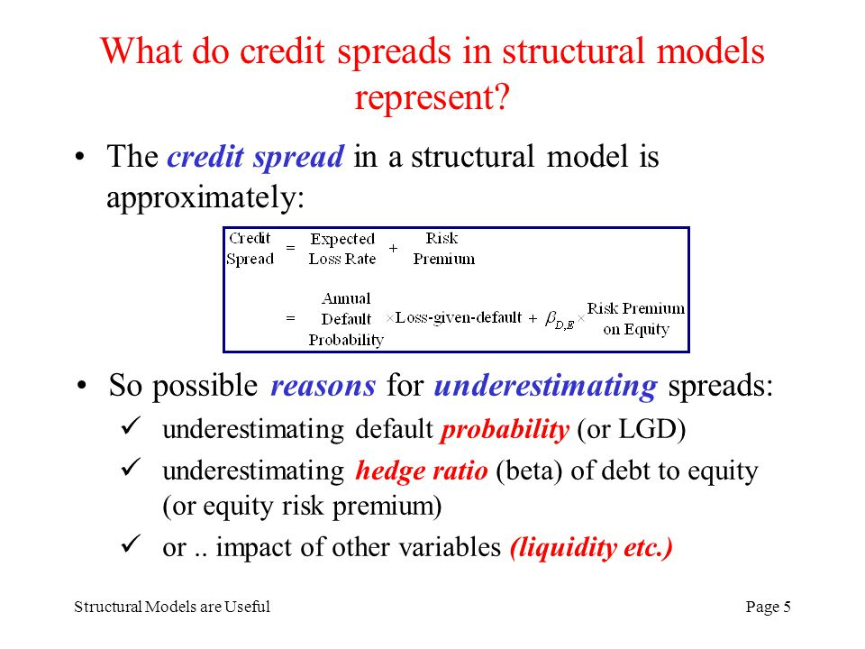Structural Models are UsefulPage 26 The story so far Merton model produces hedge ratios in line with empirical estimates so, structural models appear to capture credit exposure quite well But the R 2 are lower than the model predicts equity and risk-free debt should account for large fraction (80% plus) of debt return variation BUT we find R 2 ~ 50% – 70% for investment grade bonds and R 2 ~ 30 – 40% for non-investment grade What other factors influence corporate bond returns.