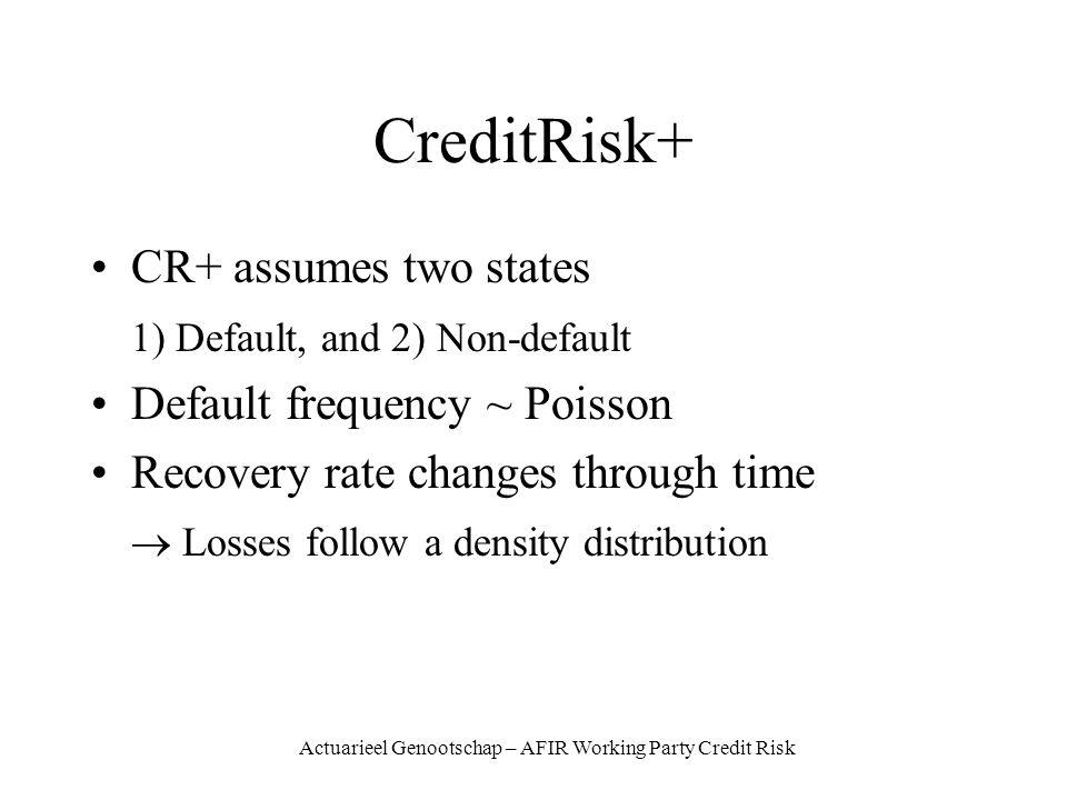 Actuarieel Genootschap – AFIR Working Party Credit Risk CreditRisk+ CR+ assumes two states 1) Default, and 2) Non-default Default frequency ~ Poisson Recovery rate changes through time Losses follow a density distribution