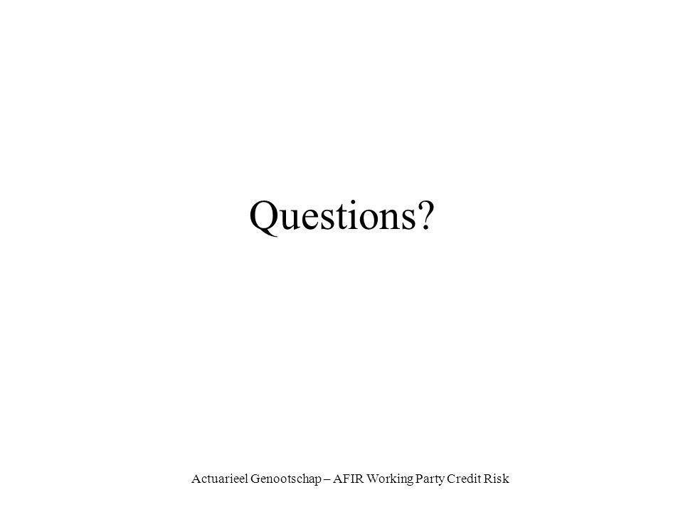 Actuarieel Genootschap – AFIR Working Party Credit Risk Questions?