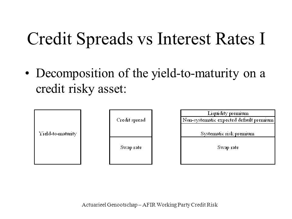 Actuarieel Genootschap – AFIR Working Party Credit Risk Credit Spreads vs Interest Rates I Decomposition of the yield-to-maturity on a credit risky asset: