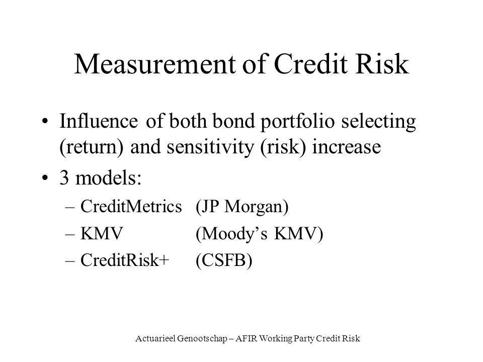 Actuarieel Genootschap – AFIR Working Party Credit Risk Measurement of Credit Risk Influence of both bond portfolio selecting (return) and sensitivity