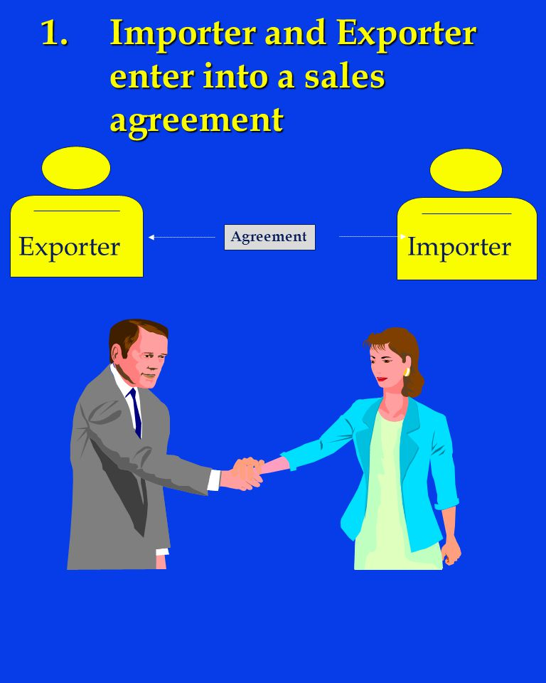 1.Importer and Exporter enter into a sales agreement Agreement ExporterImporter