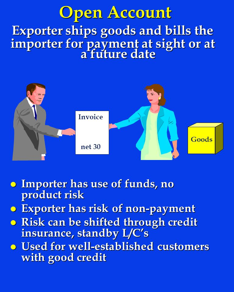 Open Account Exporter ships goods and bills the importer for payment at sight or at a future date l Importer has use of funds, no product risk l Exporter has risk of non-payment l Risk can be shifted through credit insurance, standby L/Cs l Used for well-established customers with good credit Goods Invoice net 30