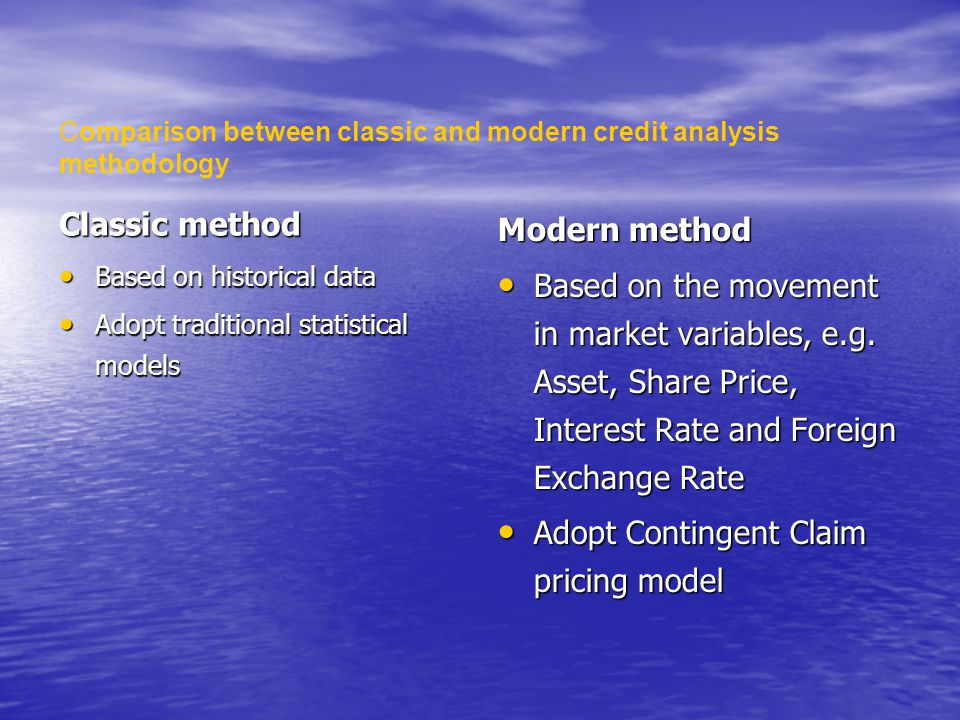 Classic method Based on historical data Based on historical data Adopt traditional statistical models Adopt traditional statistical models Modern method Based on the movement in market variables, e.g.
