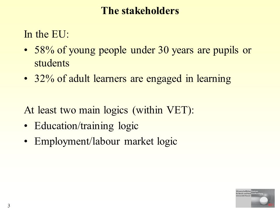 3 The stakeholders In the EU: 58% of young people under 30 years are pupils or students 32% of adult learners are engaged in learning At least two main logics (within VET): Education/training logic Employment/labour market logic