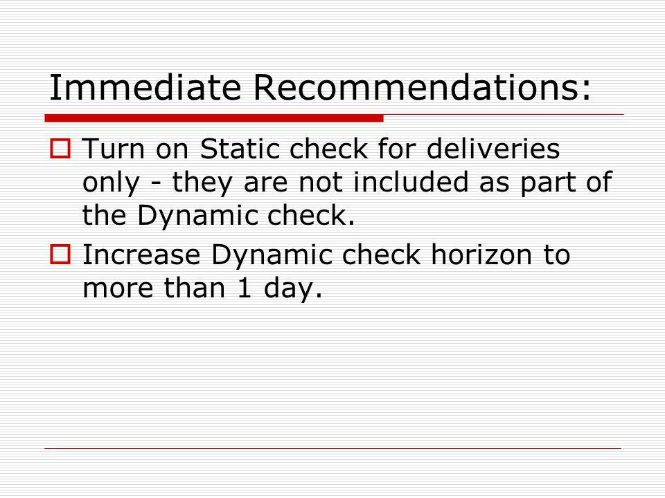 Immediate Recommendations: Turn on Static check for deliveries only - they are not included as part of the Dynamic check.