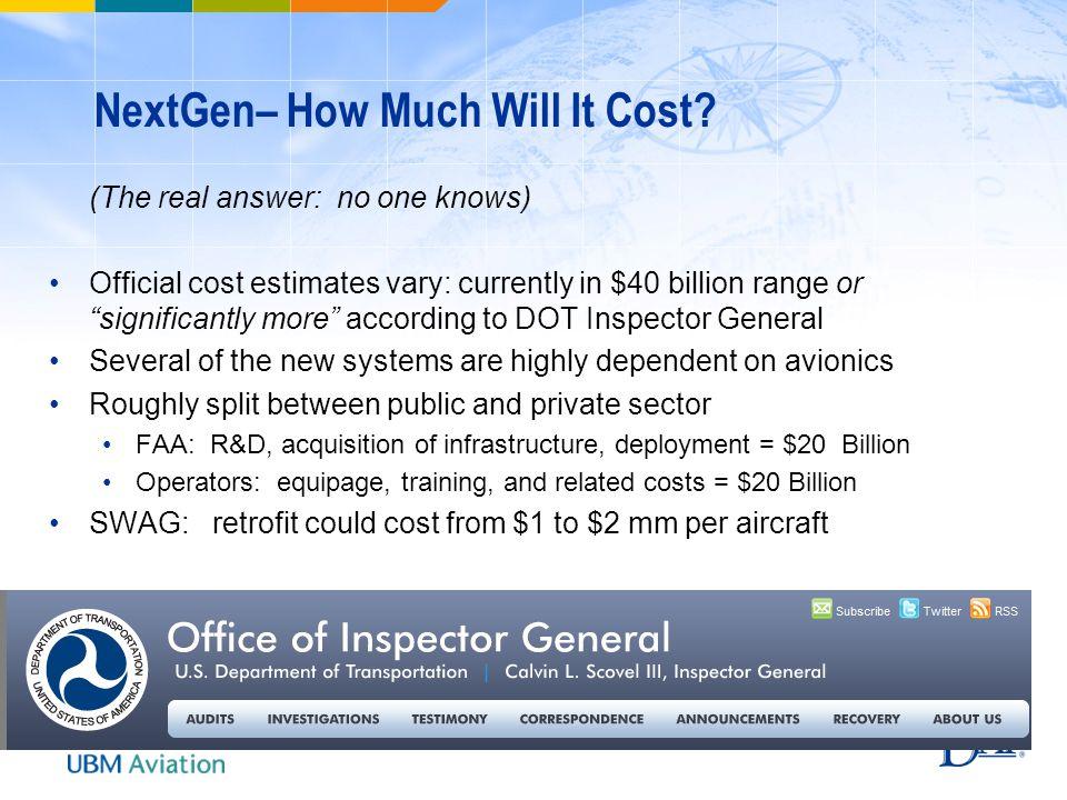 NextGen– How Much Will It Cost.