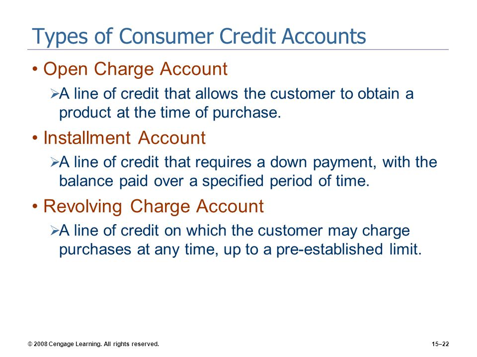 © 2008 Cengage Learning. All rights reserved.15–22 Types of Consumer Credit Accounts Open Charge Account A line of credit that allows the customer to