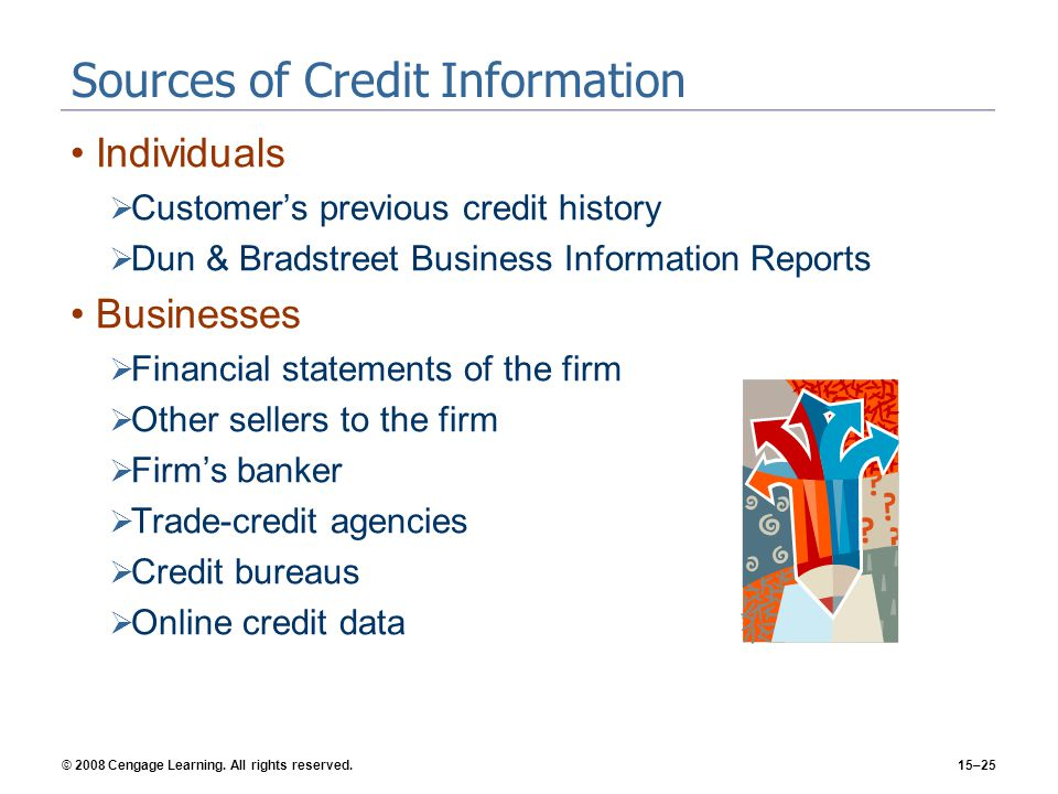 © 2008 Cengage Learning. All rights reserved.15–25 Sources of Credit Information Individuals Customers previous credit history Dun & Bradstreet Busine
