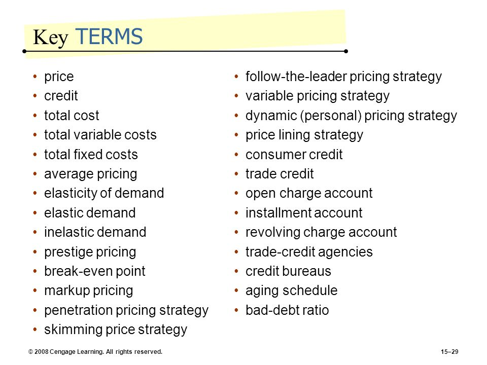 © 2008 Cengage Learning. All rights reserved.15–29 Key TERMS price credit total cost total variable costs total fixed costs average pricing elasticity