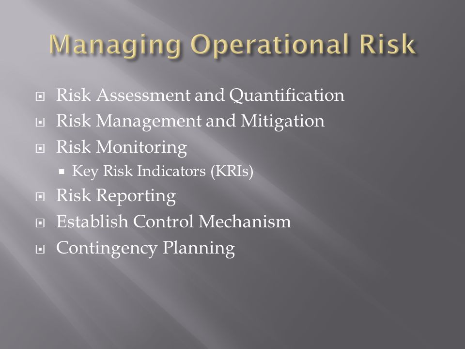 Risk Assessment and Quantification Risk Management and Mitigation Risk Monitoring Key Risk Indicators (KRIs) Risk Reporting Establish Control Mechanis