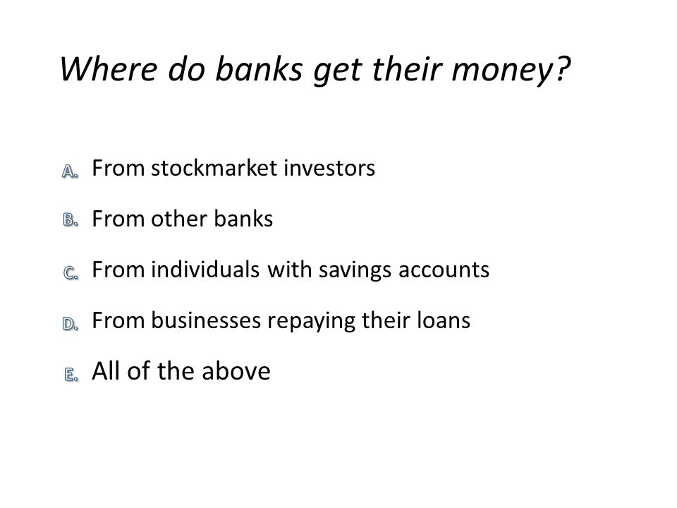 Where do banks get their money.