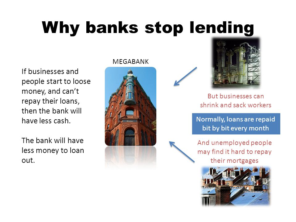 Why banks stop lending MEGABANK And unemployed people may find it hard to repay their mortgages If businesses and people start to loose money, and cant repay their loans, then the bank will have less cash.