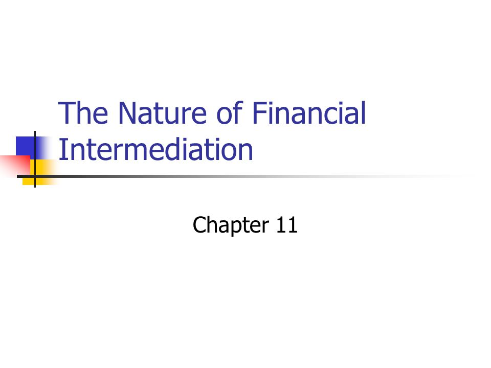 The Nature of Financial Intermediation Chapter 11