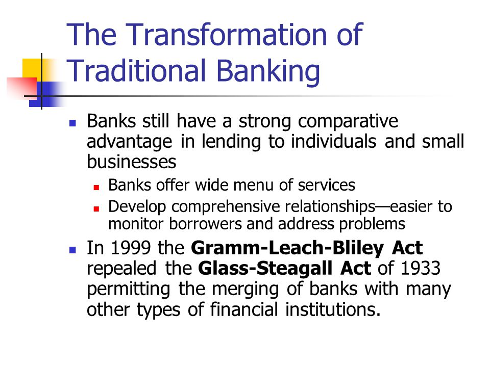 The Transformation of Traditional Banking Banks still have a strong comparative advantage in lending to individuals and small businesses Banks offer w