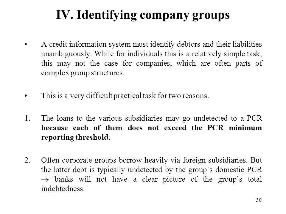 30 IV. Identifying company groups A credit information system must identify debtors and their liabilities unambiguously. While for individuals this is