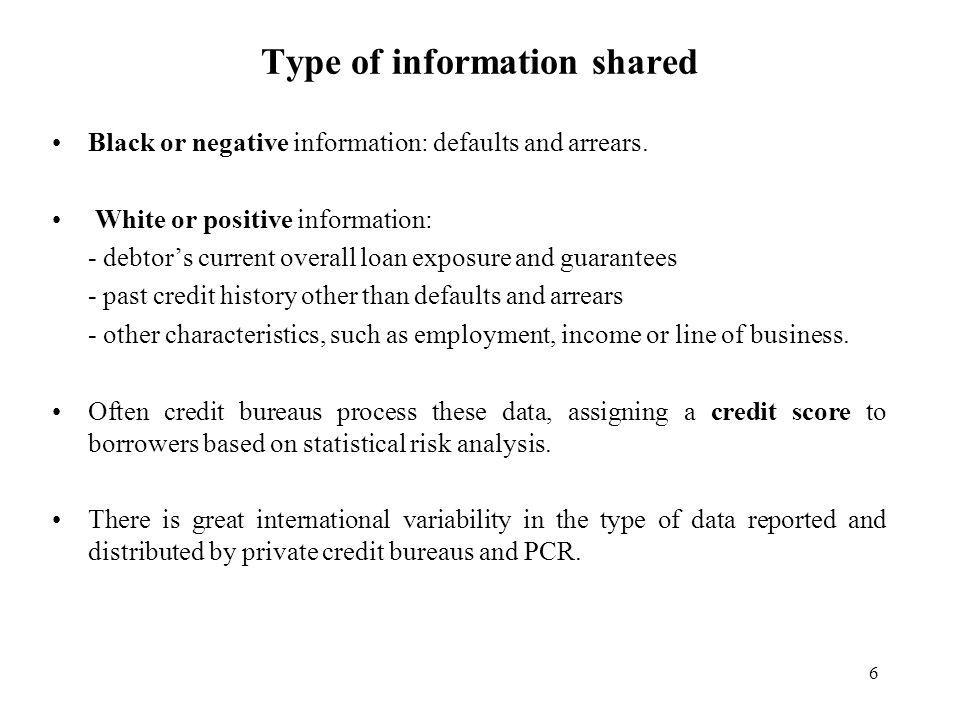 6 Type of information shared Black or negative information: defaults and arrears.