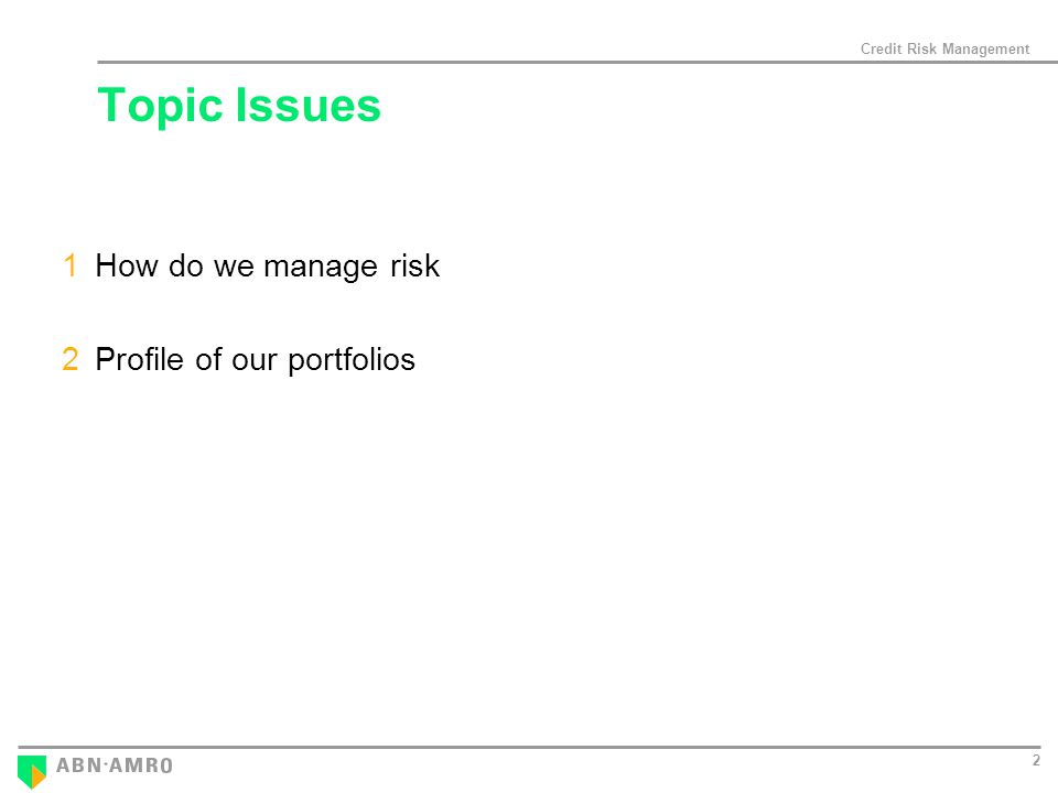 Credit Risk Management 2 Topic Issues 1How do we manage risk 2Profile of our portfolios