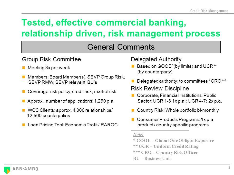 Credit Risk Management 4 Meeting 3x per week Members: Board Member(s), SEVP Group Risk, SEVP RMW, SEVP relevant BUs Coverage: risk policy, credit risk, market risk Approx.