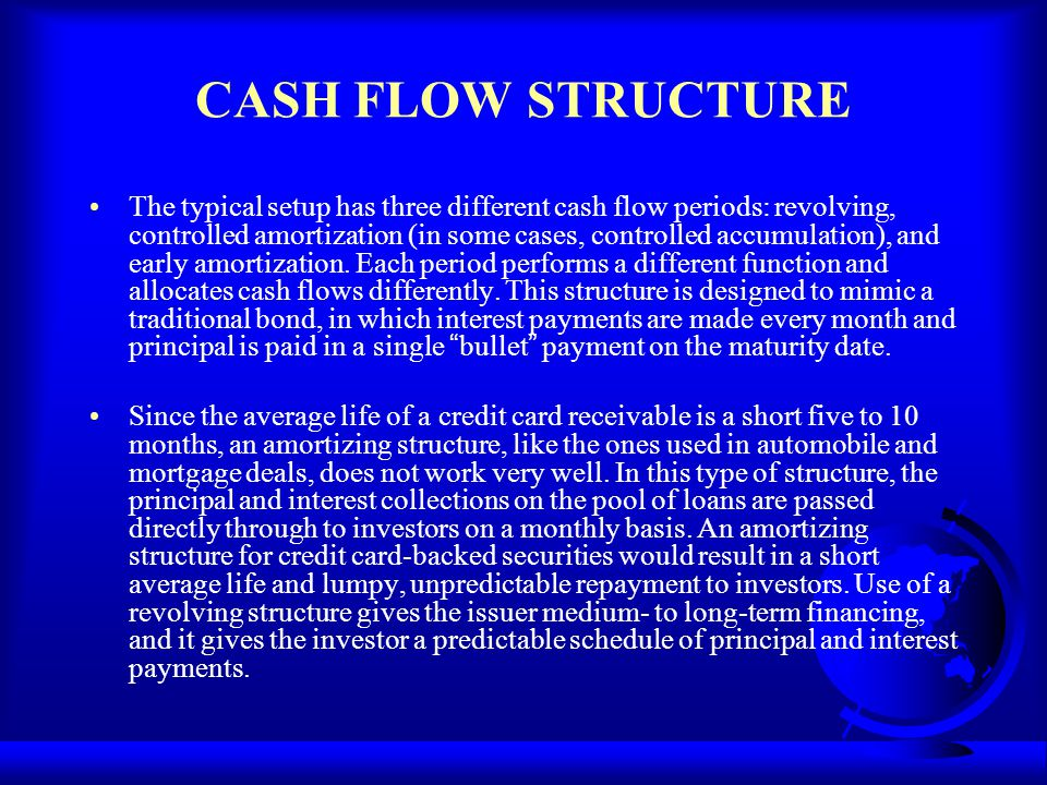 CASH FLOW STRUCTURE The typical setup has three different cash flow periods: revolving, controlled amortization (in some cases, controlled accumulatio