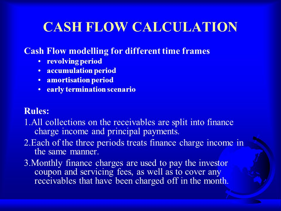 CASH FLOW CALCULATION Cash Flow modelling for different time frames revolving period accumulation period amortisation period early termination scenari