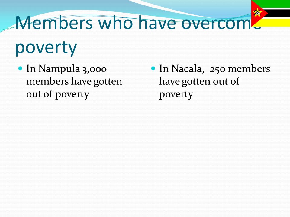 Members who have overcome poverty In Nampula 3,000 members have gotten out of poverty In Nacala, 250 members have gotten out of poverty
