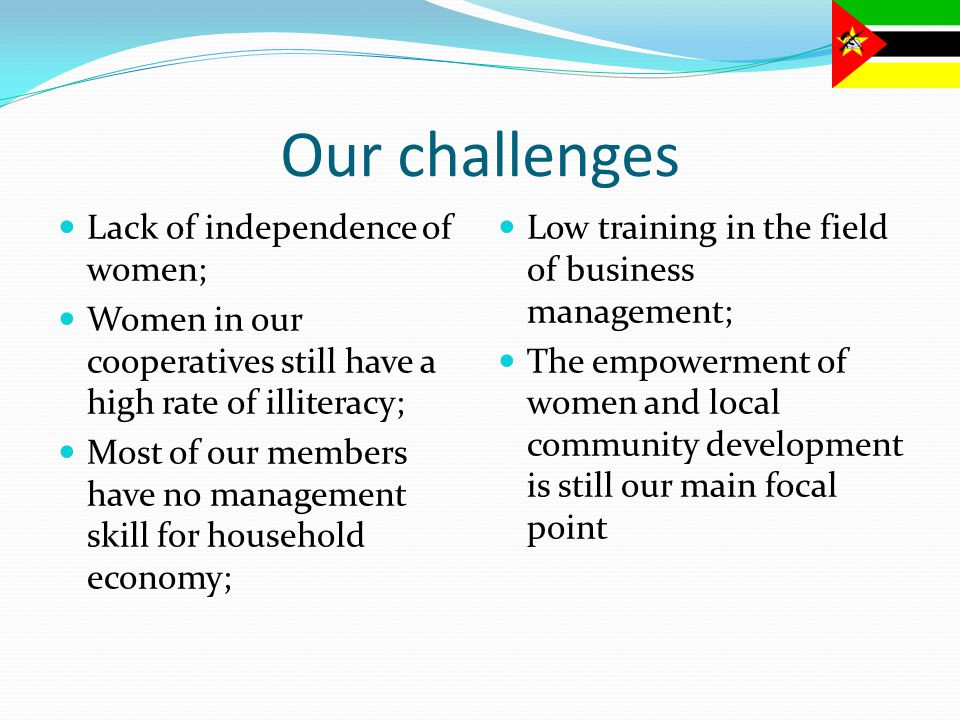 Our challenges Lack of independence of women; Women in our cooperatives still have a high rate of illiteracy; Most of our members have no management skill for household economy; Low training in the field of business management; The empowerment of women and local community development is still our main focal point