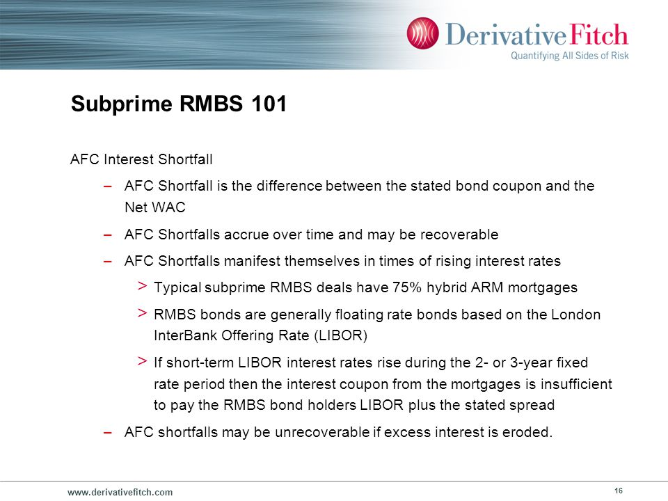 www.derivativefitch.com 16 Subprime RMBS 101 AFC Interest Shortfall –AFC Shortfall is the difference between the stated bond coupon and the Net WAC –A
