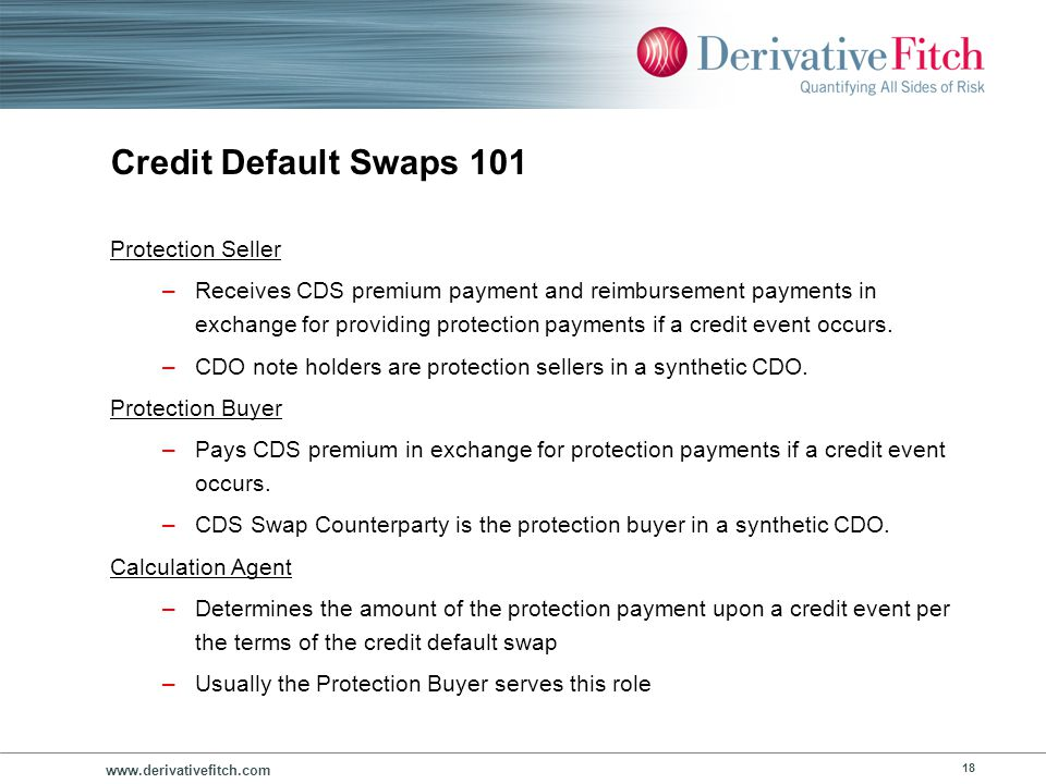 www.derivativefitch.com 18 Credit Default Swaps 101 Protection Seller –Receives CDS premium payment and reimbursement payments in exchange for providi