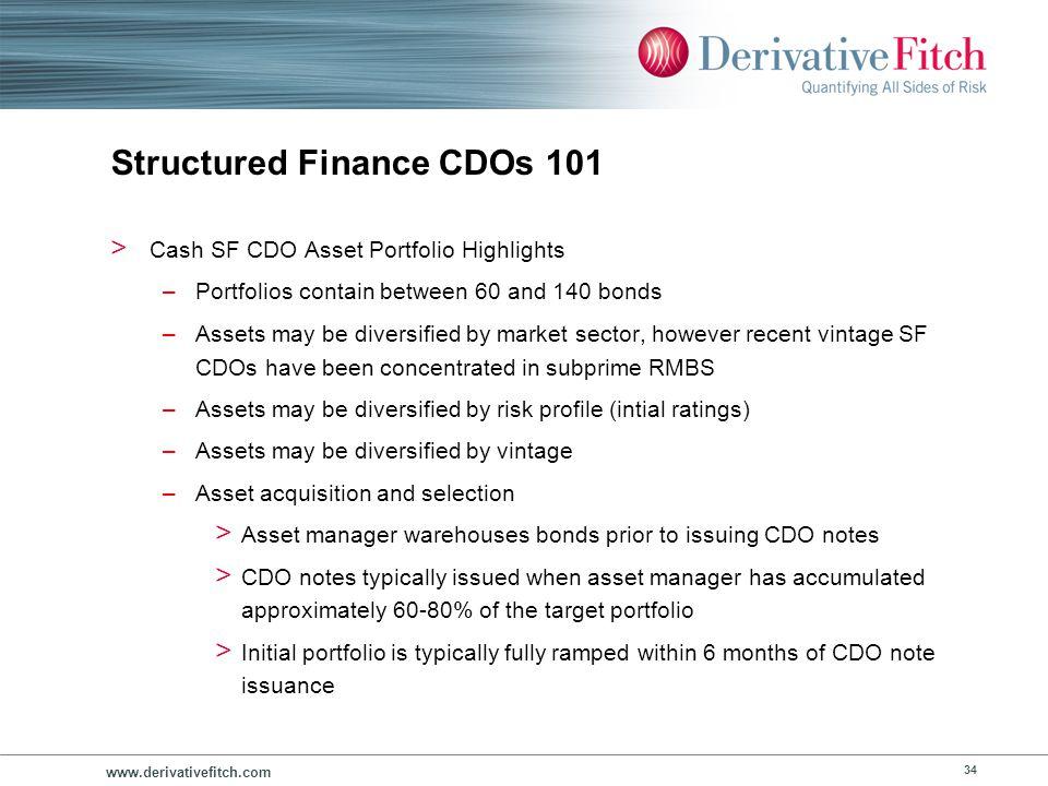 www.derivativefitch.com 34 Structured Finance CDOs 101 > Cash SF CDO Asset Portfolio Highlights –Portfolios contain between 60 and 140 bonds –Assets m