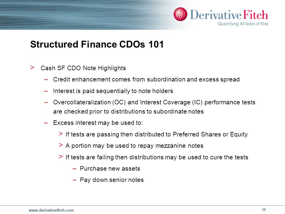 www.derivativefitch.com 36 Structured Finance CDOs 101 > Cash SF CDO Note Highlights –Credit enhancement comes from subordination and excess spread –I